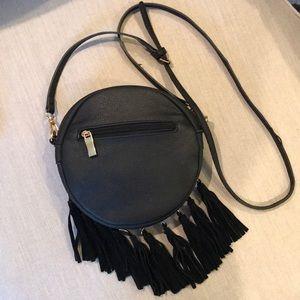 Black round satchel purse